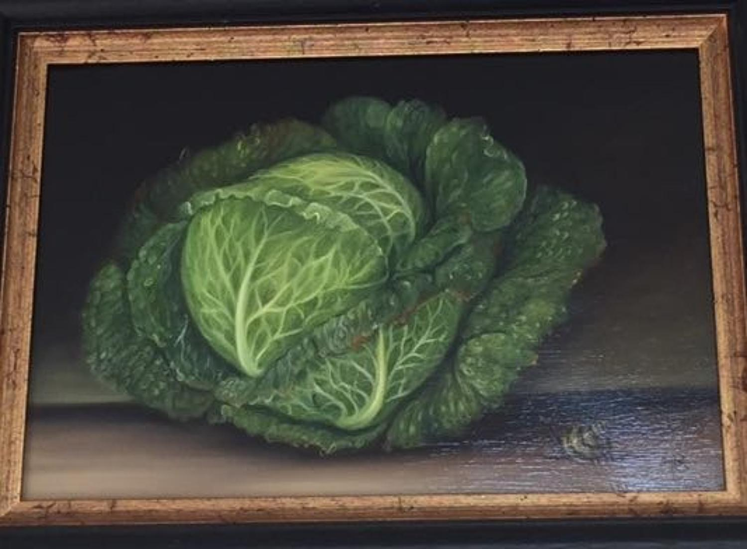 Cabbage, oil on board painting