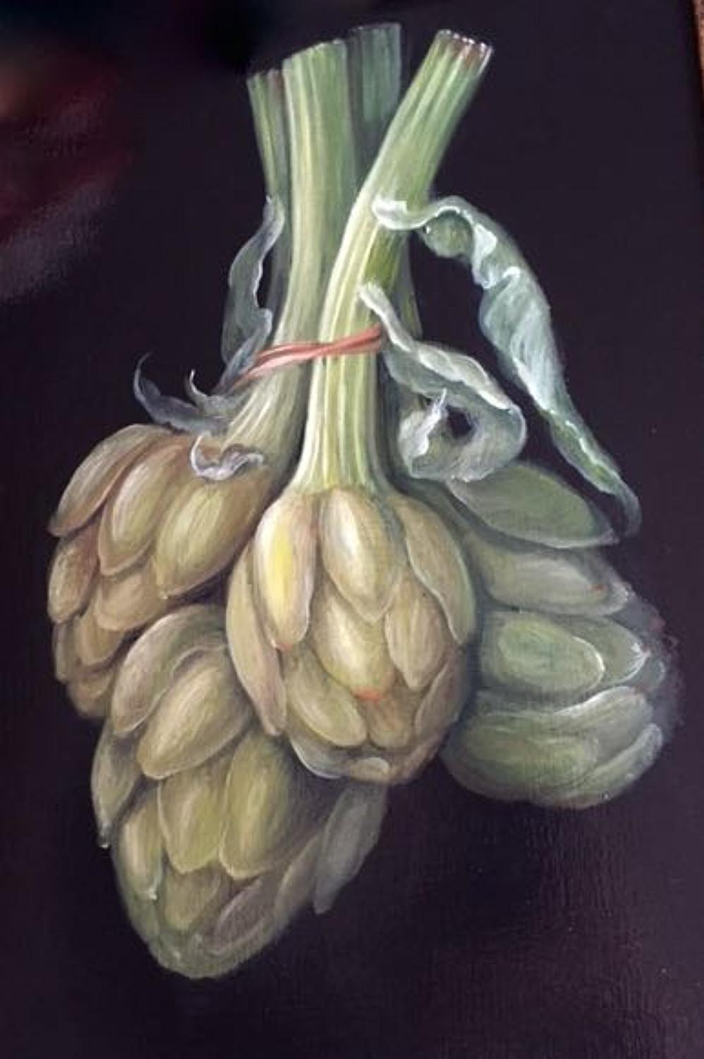Bunch of Artichokes, oil on board painting