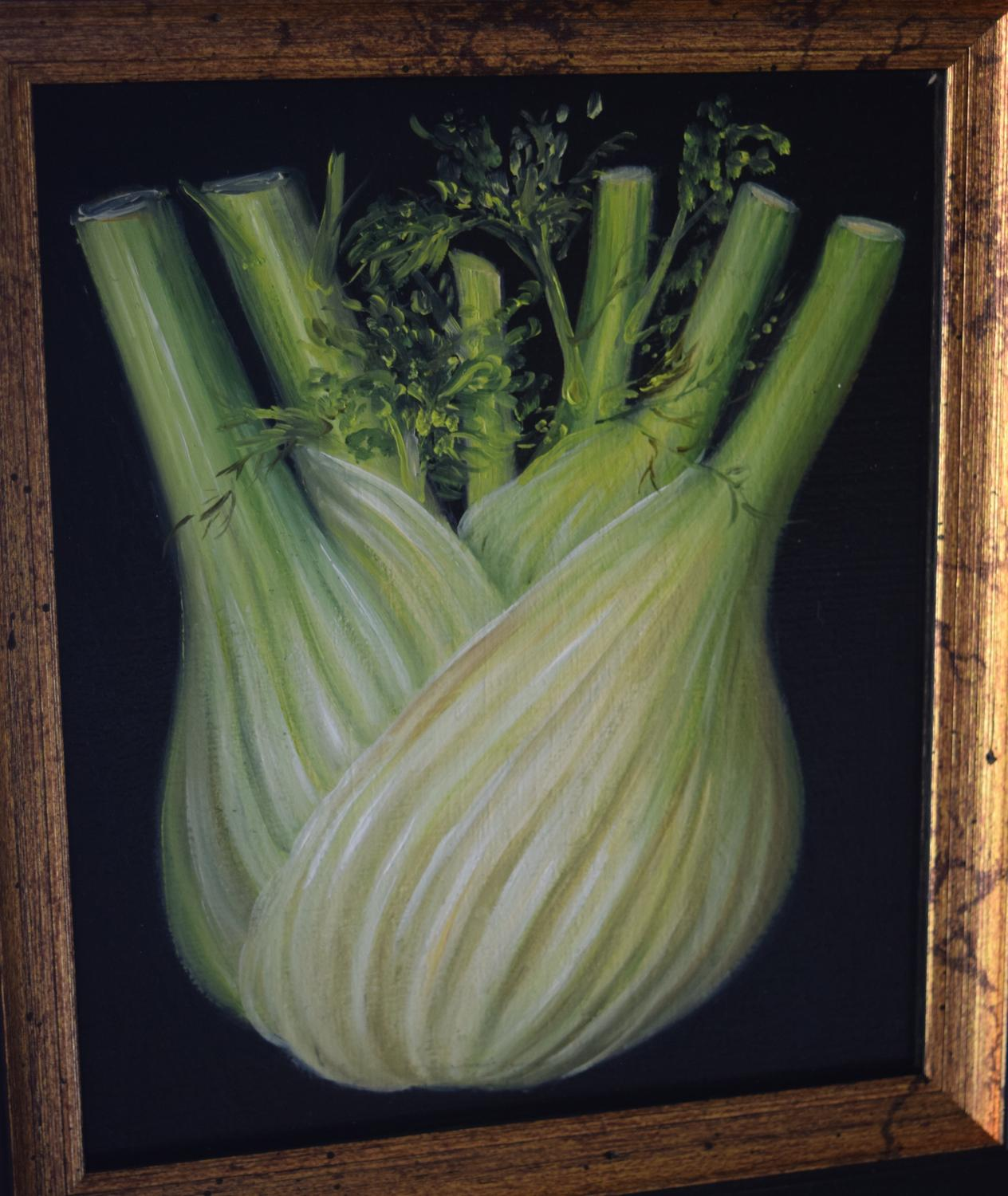 Painting of fennel, oil on board. Framed