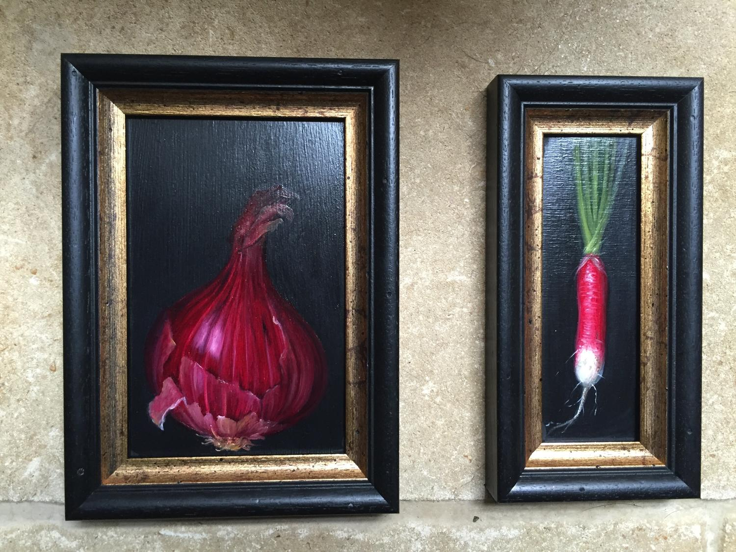 Painting of red onion and raddish