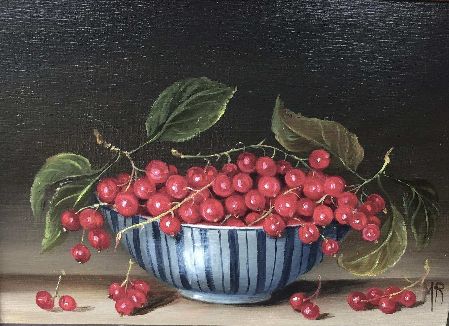 Oil painting of a bowl of red currants