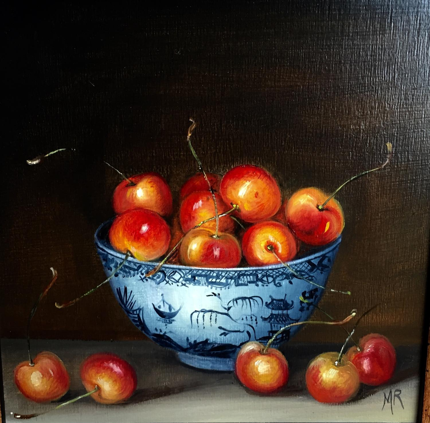 Painting of cherries in a bowl