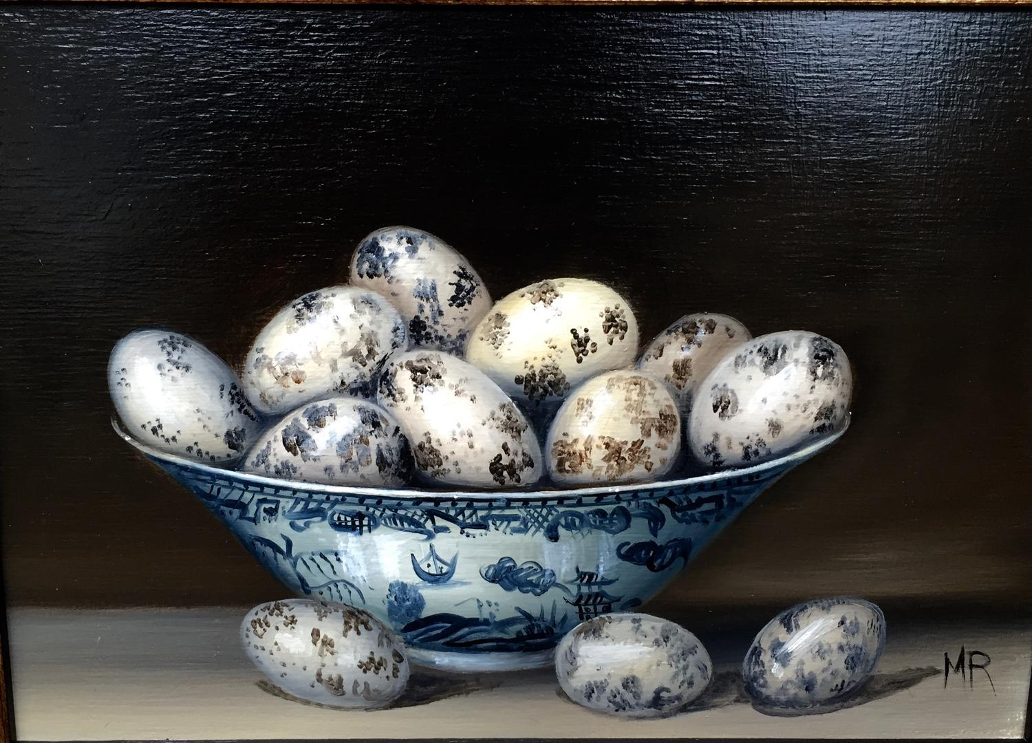 Oil painting of a bowl of quail's eggs
