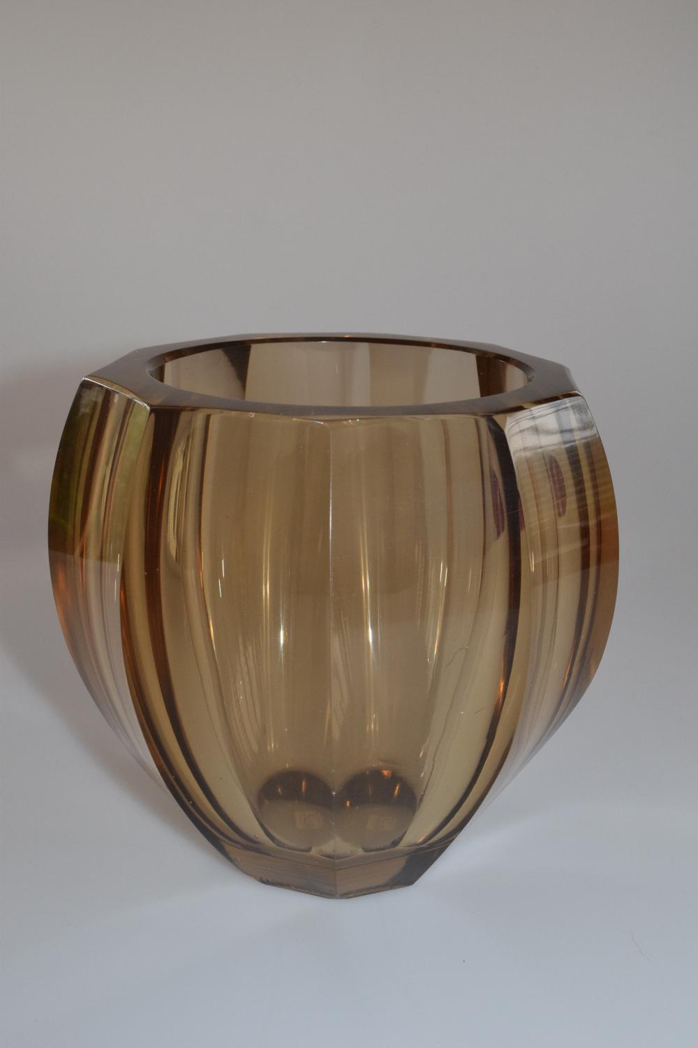 Brown facetted Daum vase