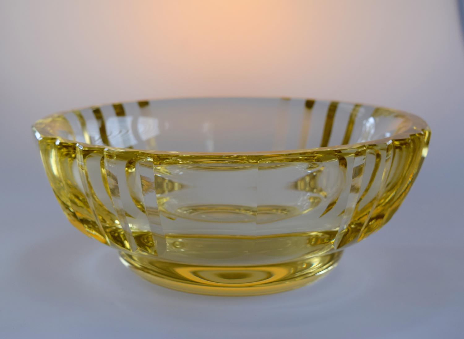 Yellow cut bowl by Daum.