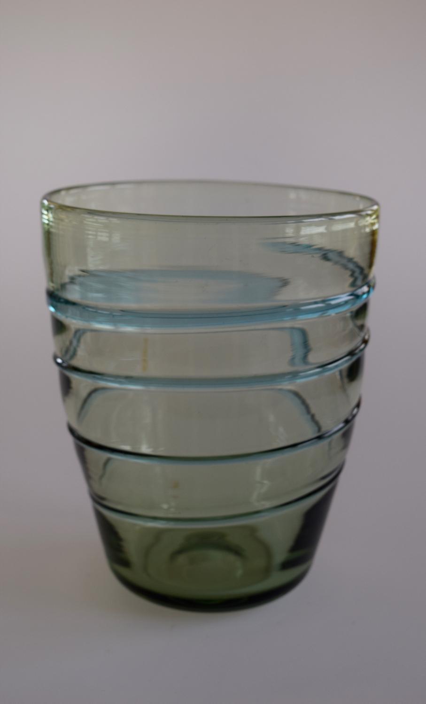 Blue/green ribbon trailed vase.