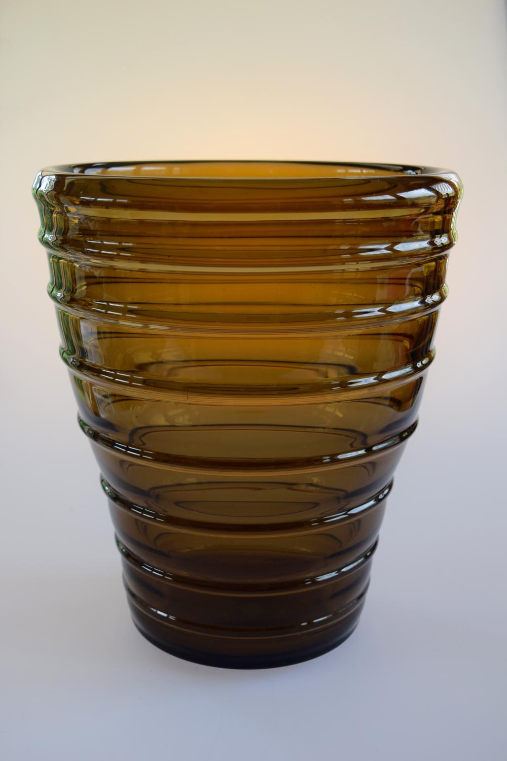 Ribbed brown Daum vase