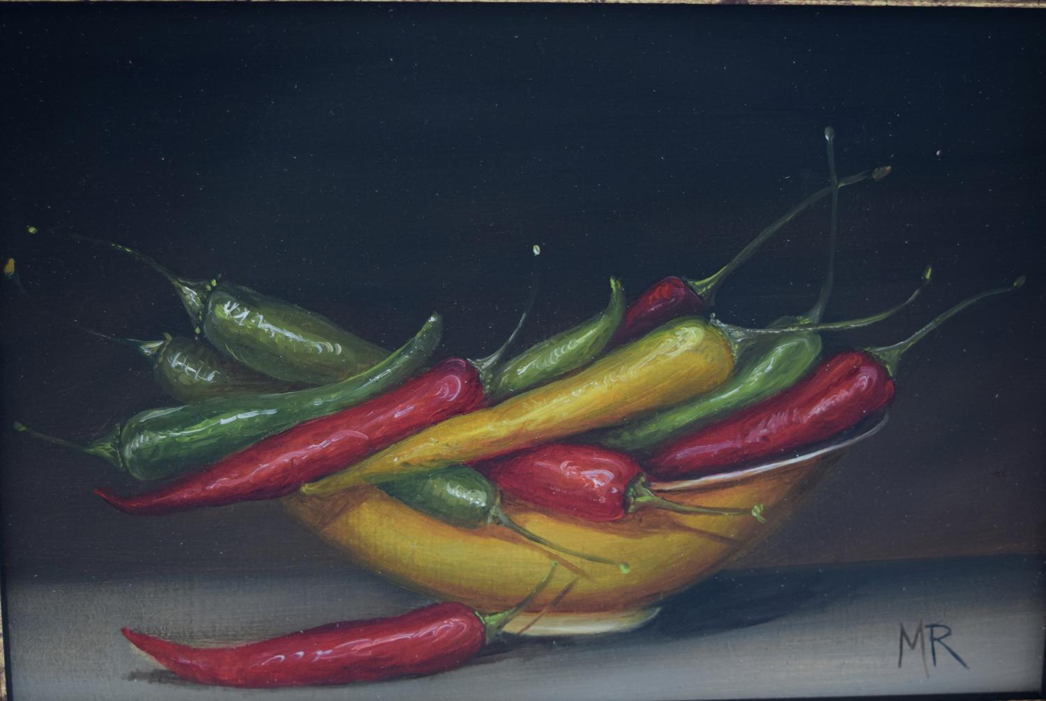 Chillis in a yellow bowl
