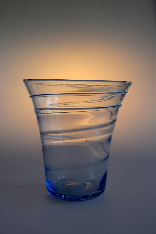 Sapphire blue ribbon trailed vase, Whitefriars,