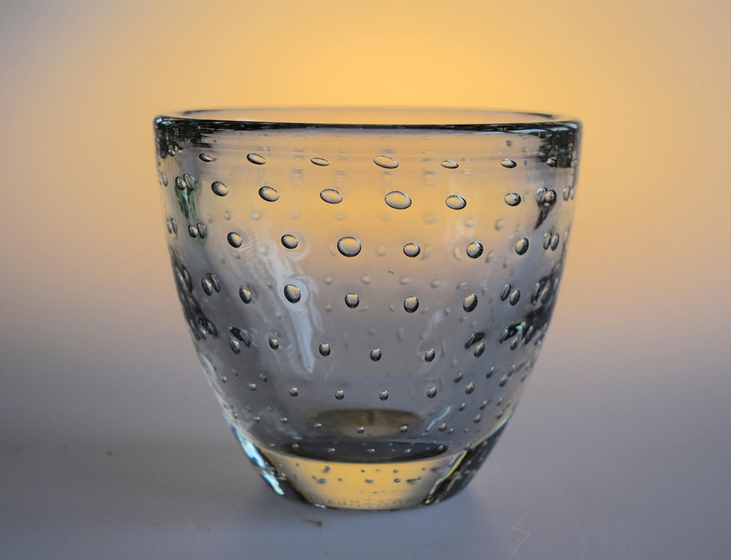 Small clear bubble vase, Daum
