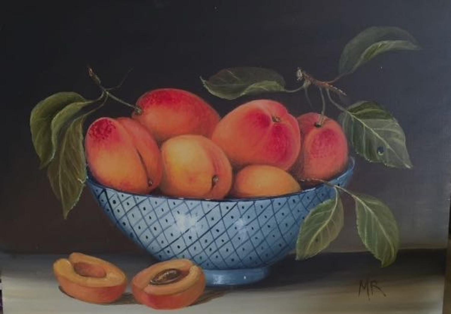 Painting of a bowl of apricots