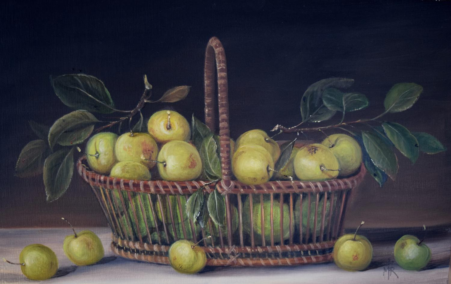 Painting of basket of greengages