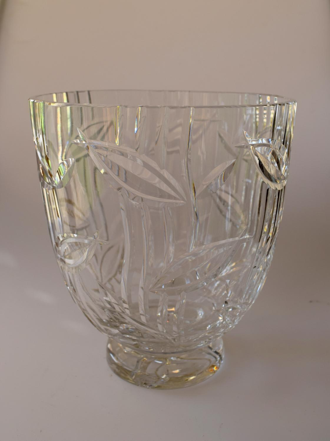 Large cut glass Stuart vase,