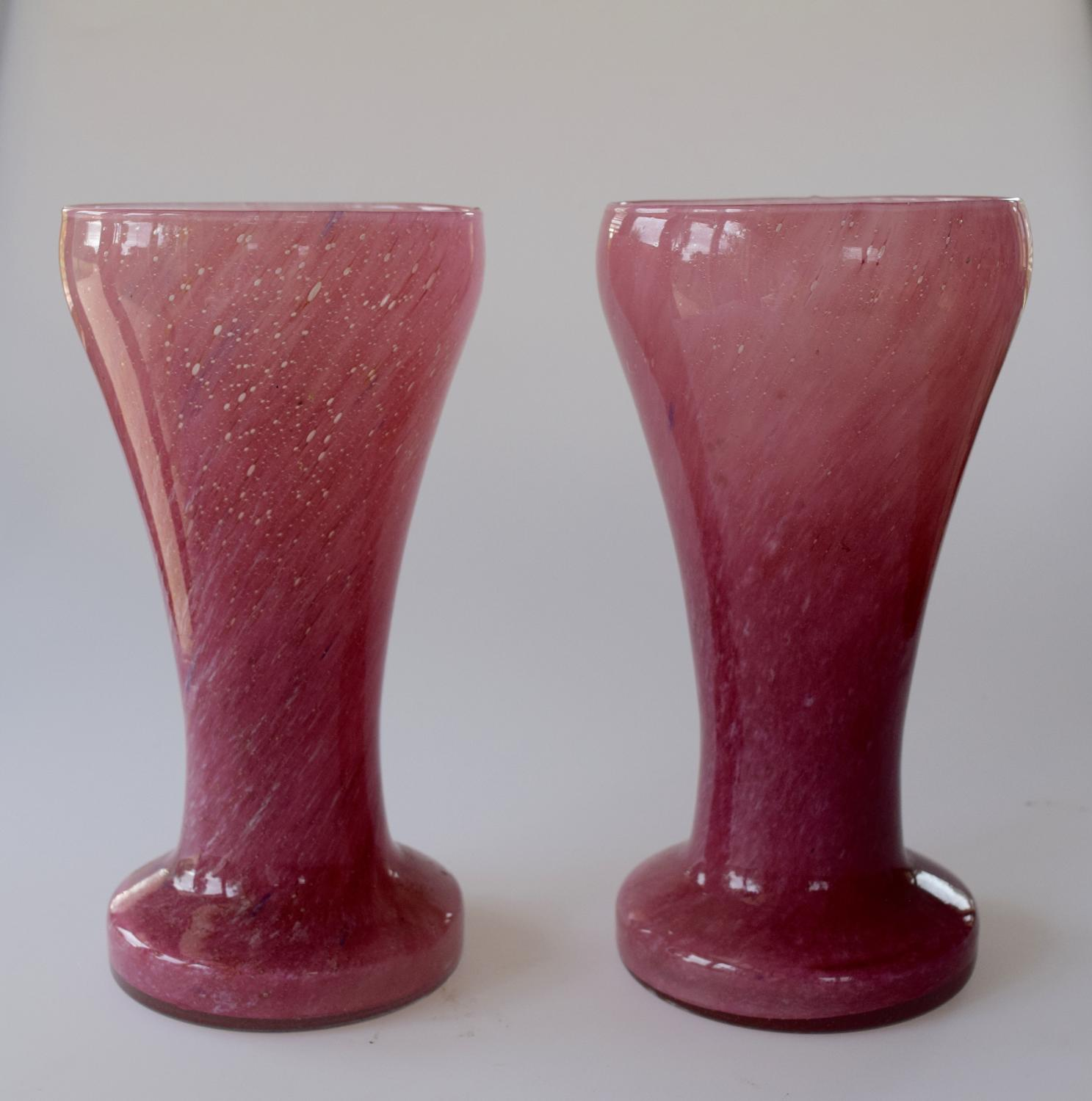 Pair of pink Nazeing vases.