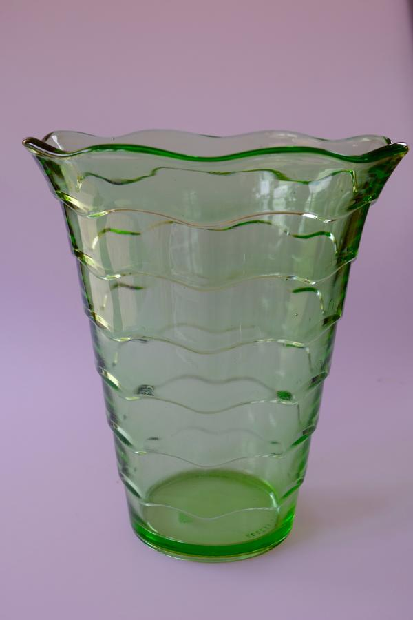 Green ripple vase by Davidson.