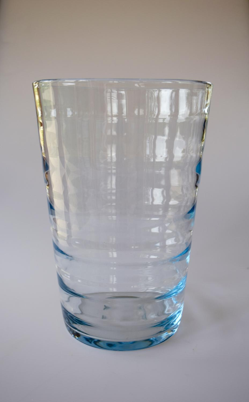 Ribbed blue bucket vase. Scandinavian .