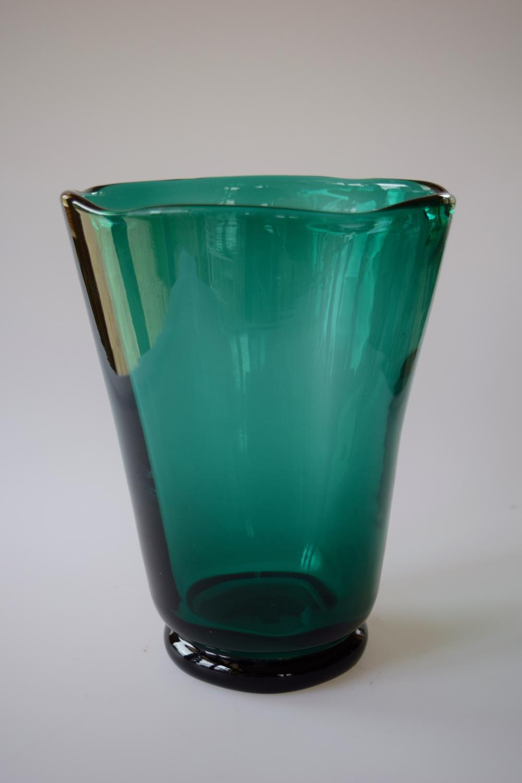 Emerald green Whitefriars vase.