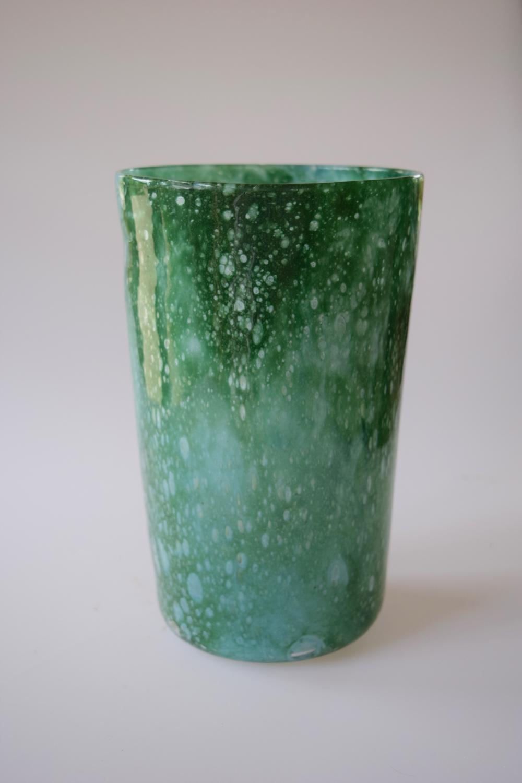 Cloudy green tumbler vase, Whitefriars.
