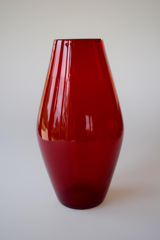 Geoffrey Baxter ruby barrel vase.