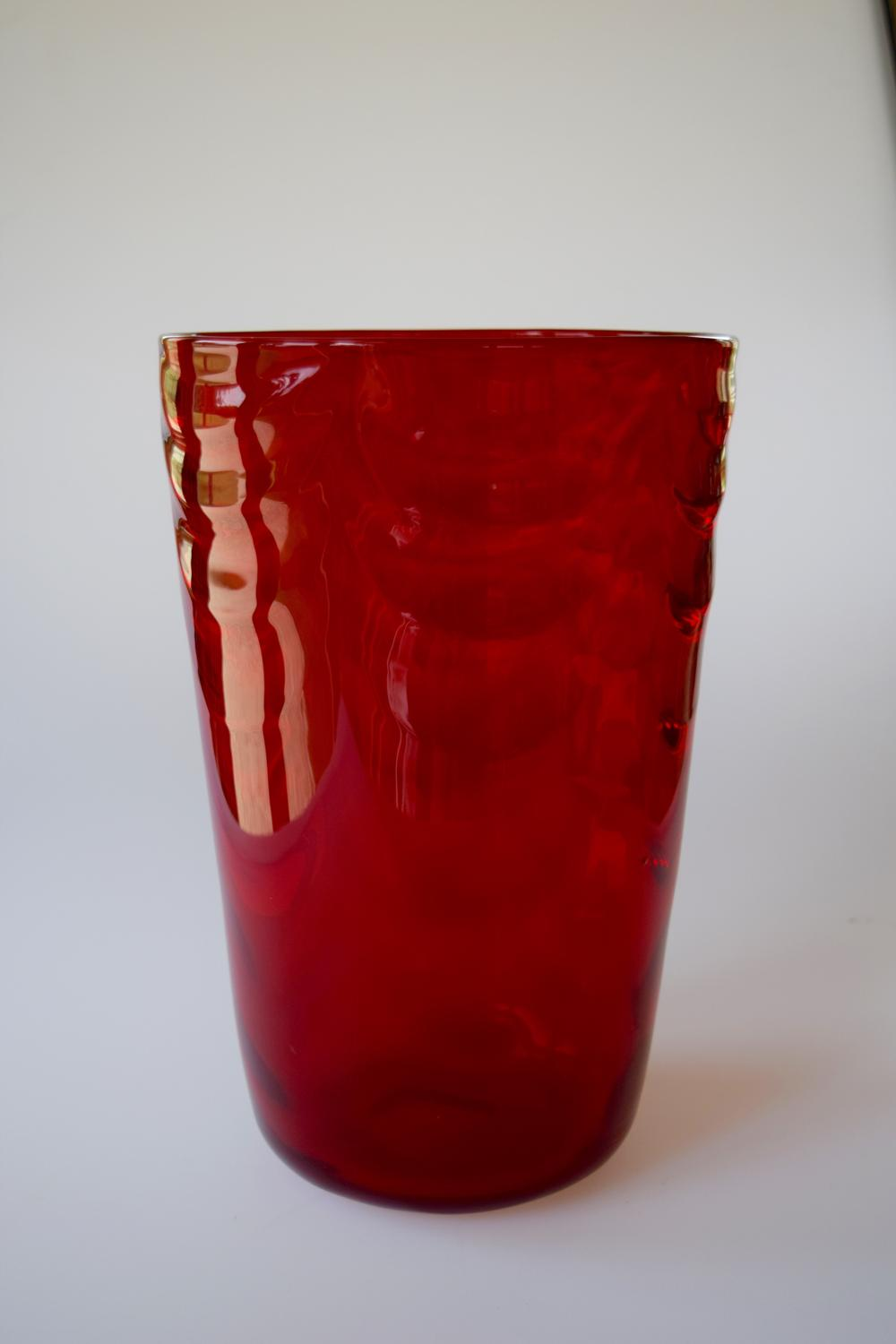 Ruby wave ribbed bucket vase, Whitefriars.