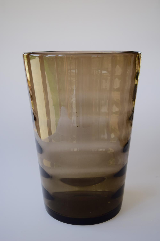 Large optic brown tumbler vase.