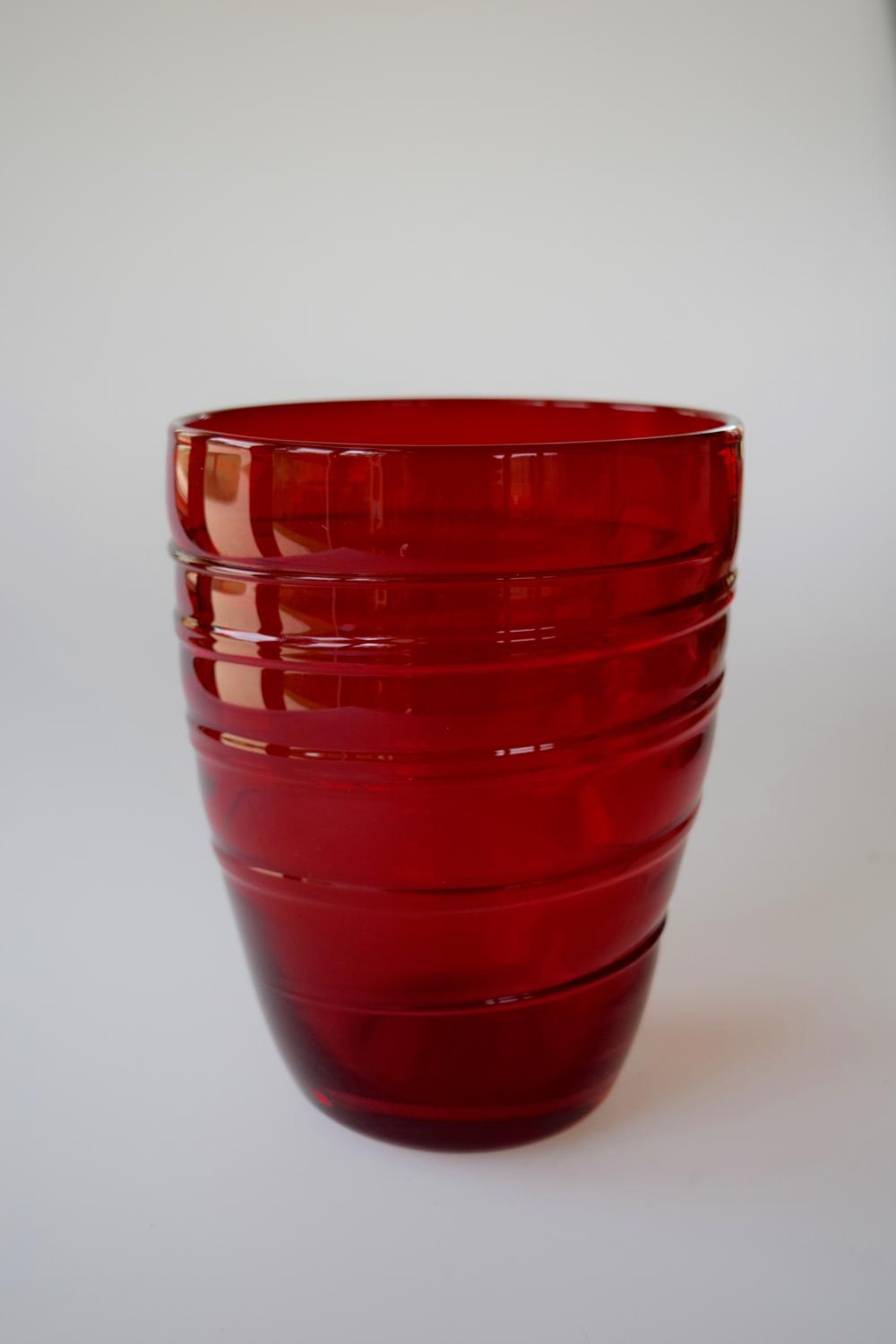 Ruby ribbon trailed bucket vase by Whitefriars.