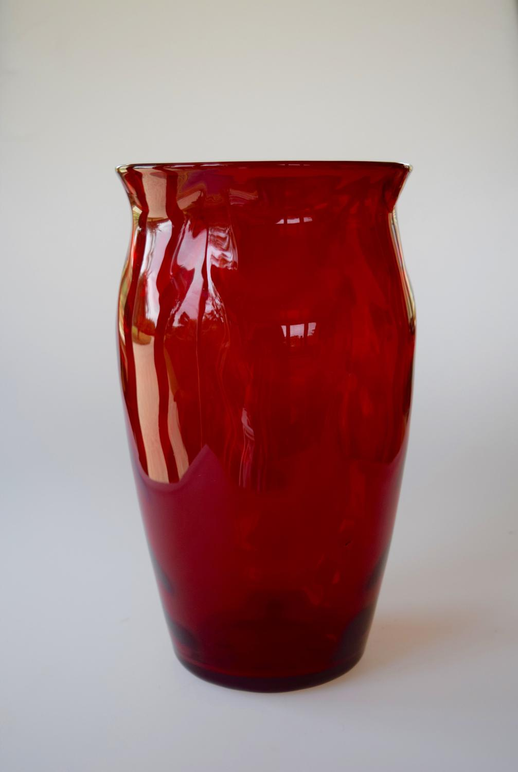 Wave ribbed vase by Whitefriars.