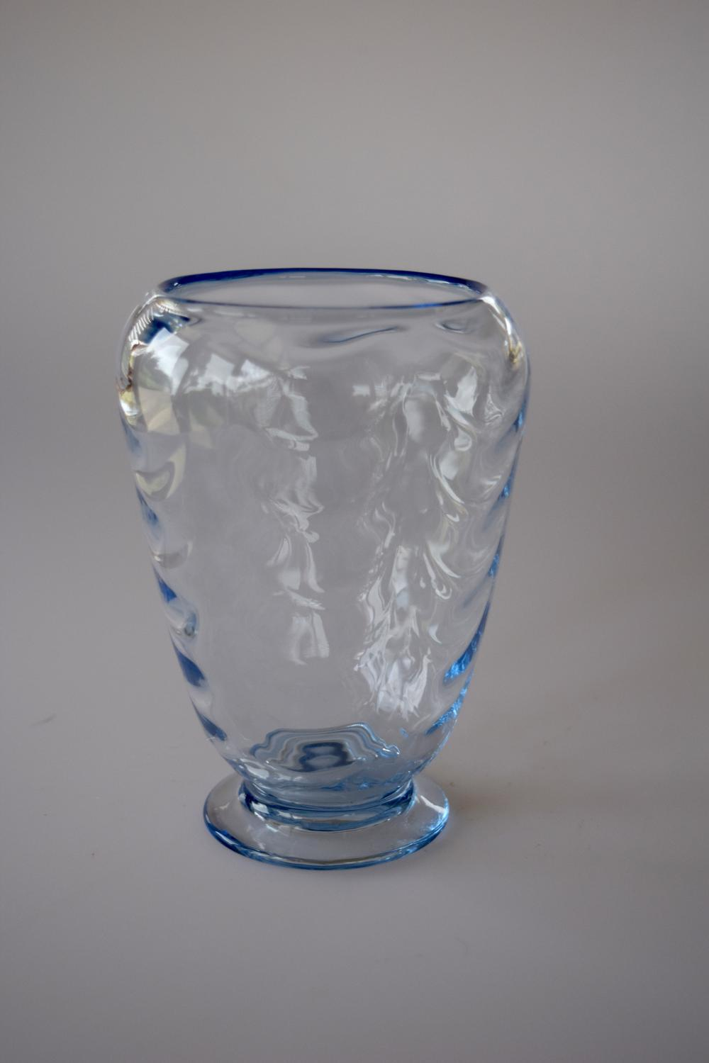 Whitefriars sapphire blue wave ribbed posy vase.
