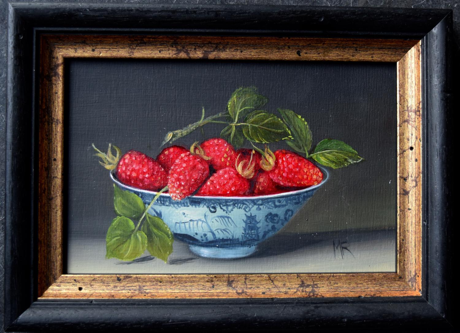 Oil painting of a small bowl of raspberries