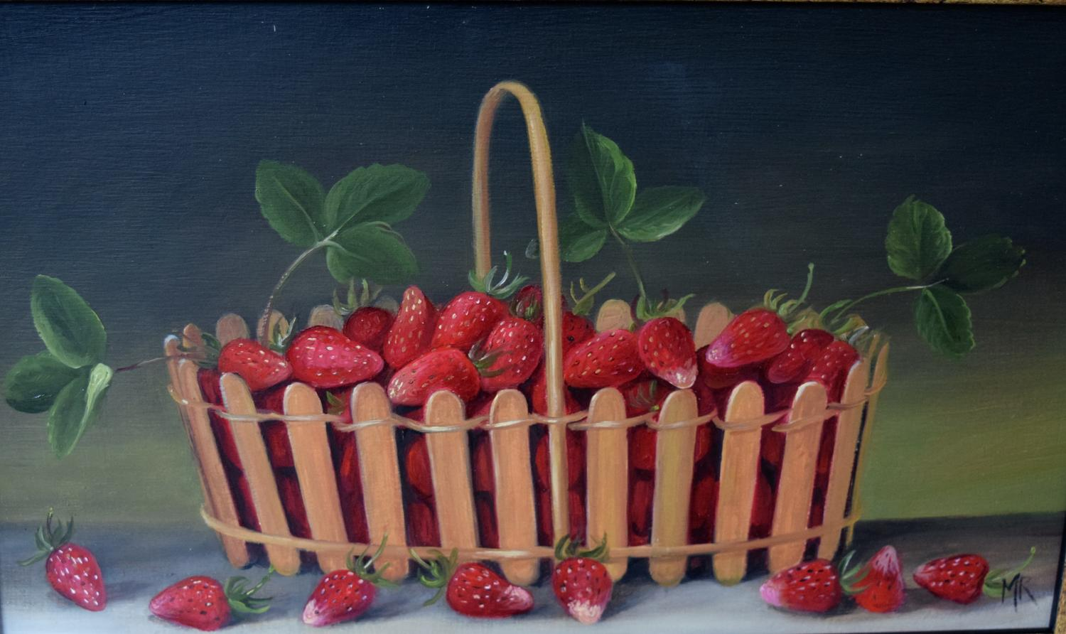 Painting of a basket of strawberries