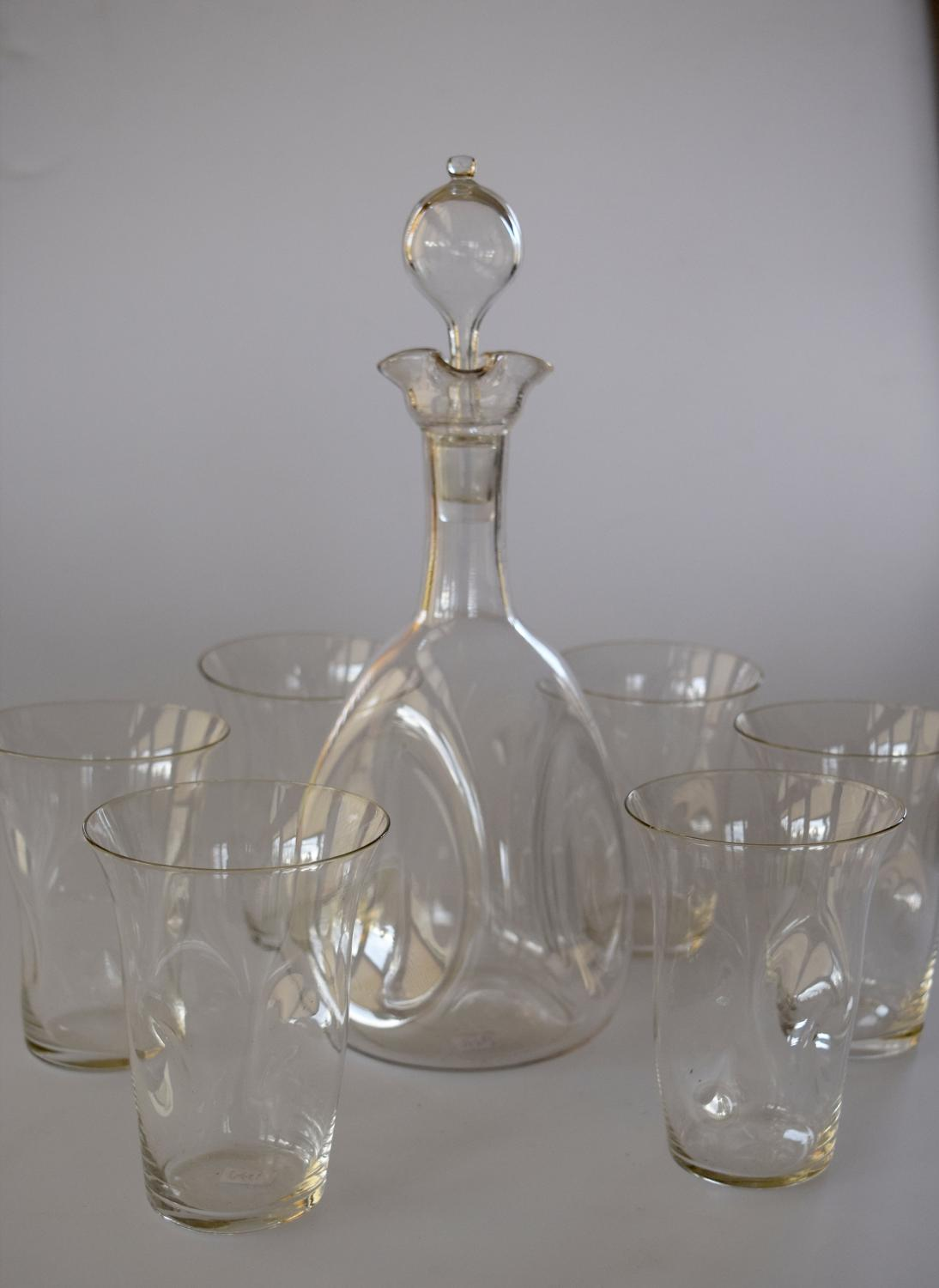 James Powell whiskey decanter and 6 glasses