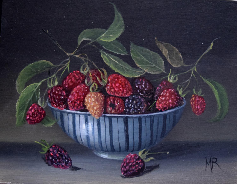 Bowl of raspberries and blackberries