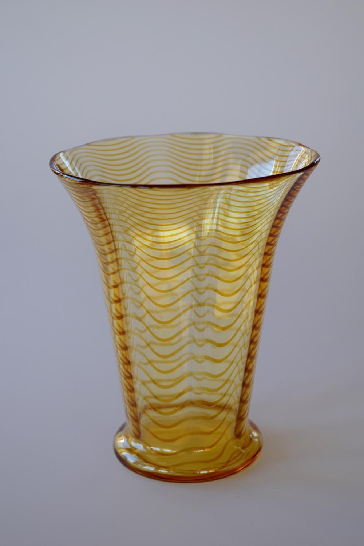 Yellow threaded vase