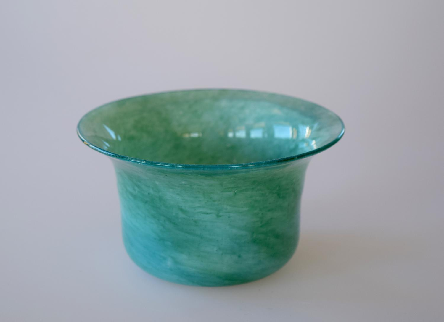 Small blue/green cloudy bowl.