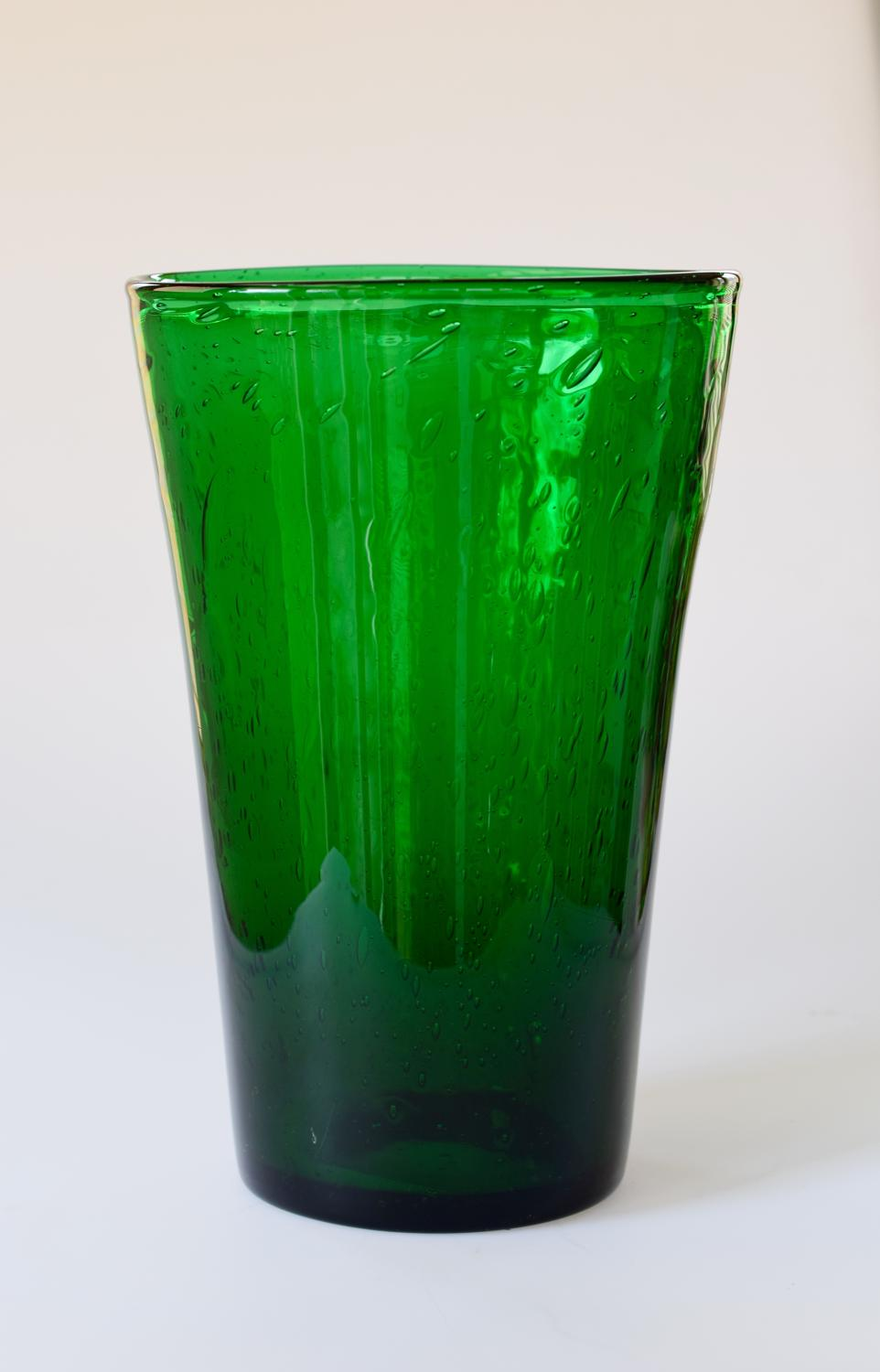 Tall emerald green bubble vase