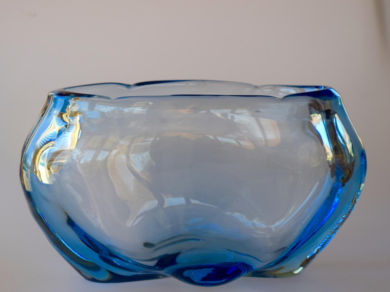 Oval James Hogan sapphire blue vase