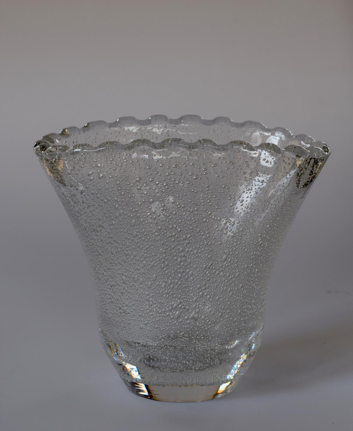 Frilly top oval bubble vase, Daum.