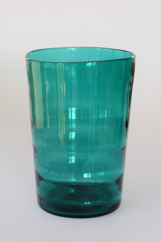 Kingfisher blue optic bucket vase