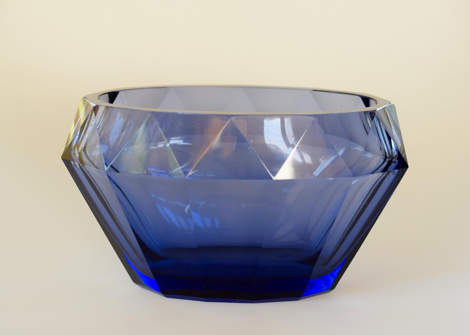 Moser facetted oval bowl