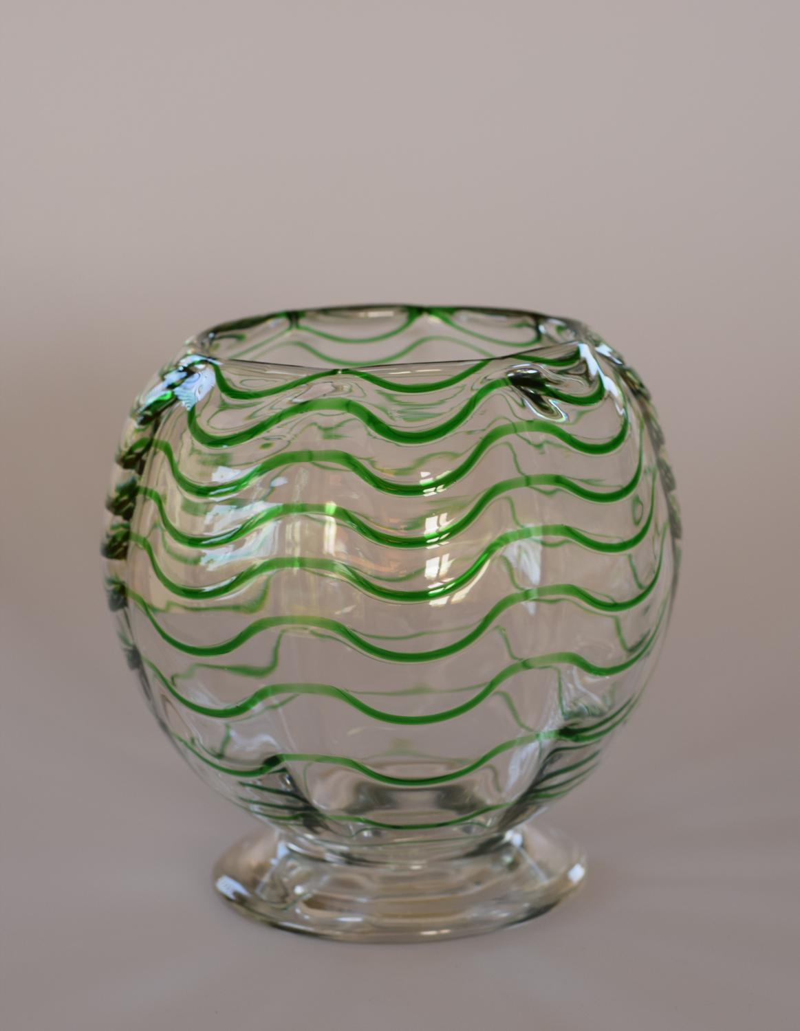 Green and white threaded vase, Webb.