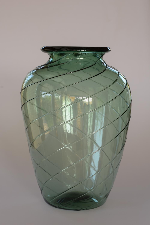 Green Murano baluster vase
