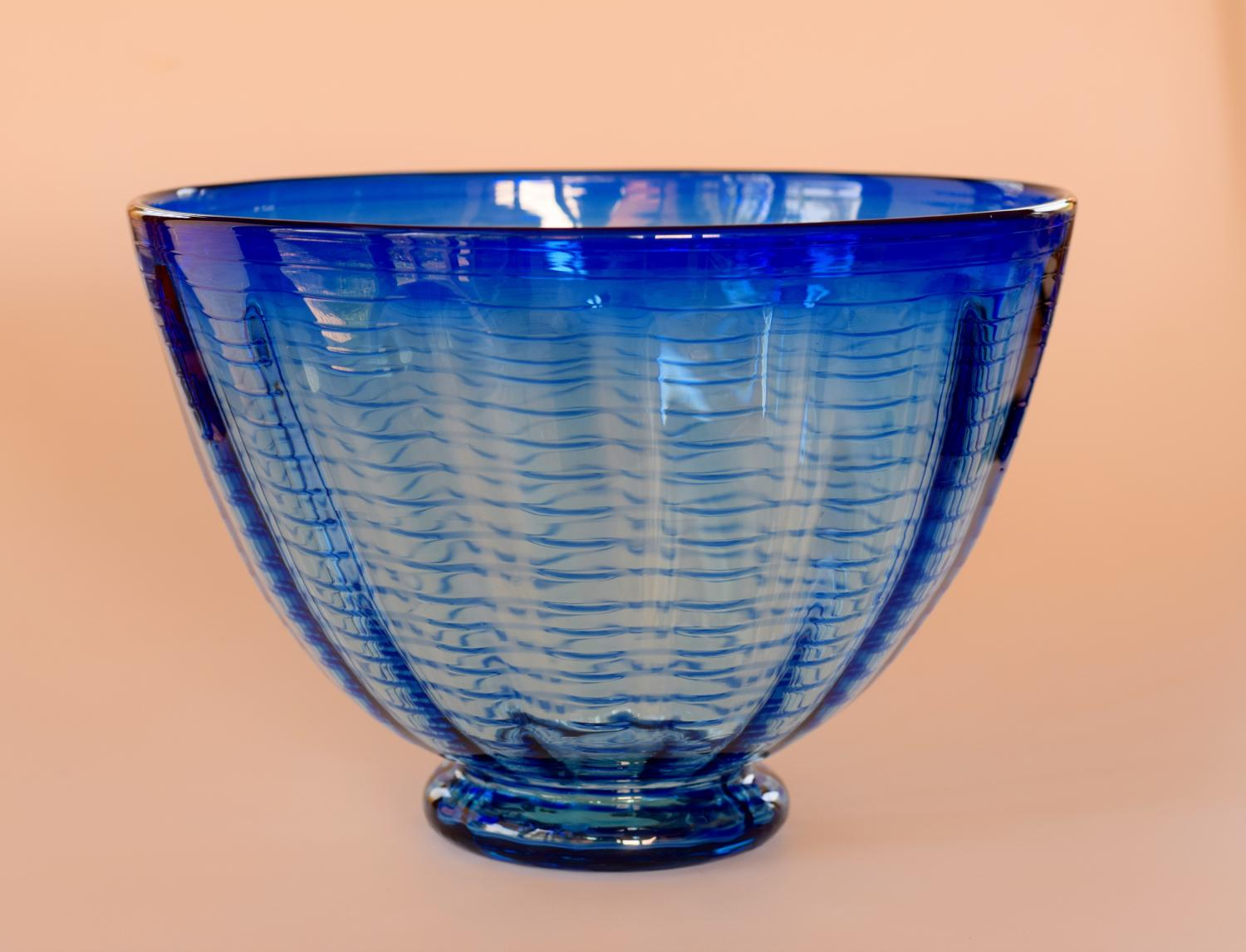 Large blue threaded bowl by Whitefriars
