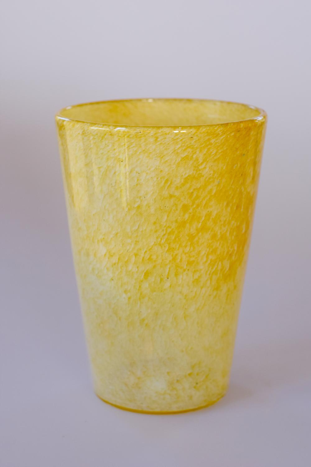 Pale yellow cloudy vase