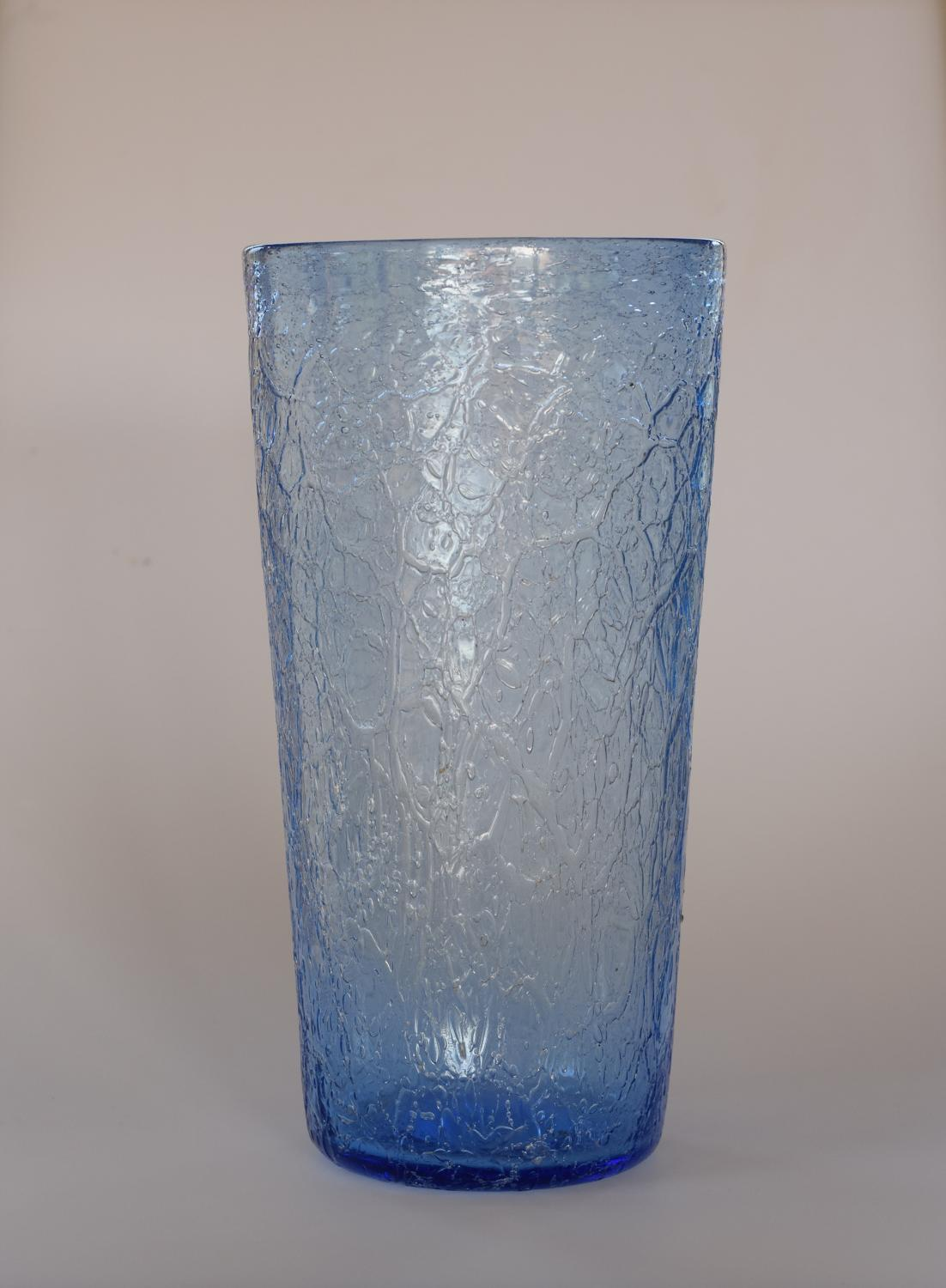 Blue crackle tumbler vase