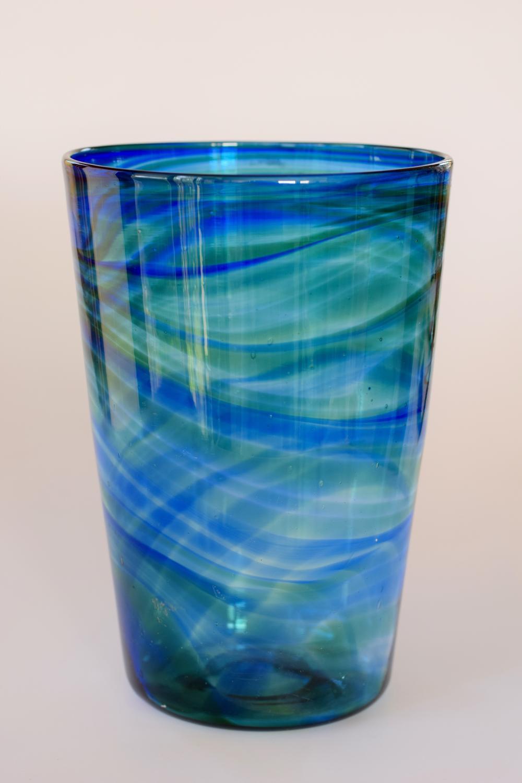 Streaky blue tumbler vase, Whitefriars.