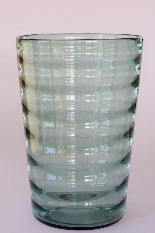 Green optic rib tumbler vase.