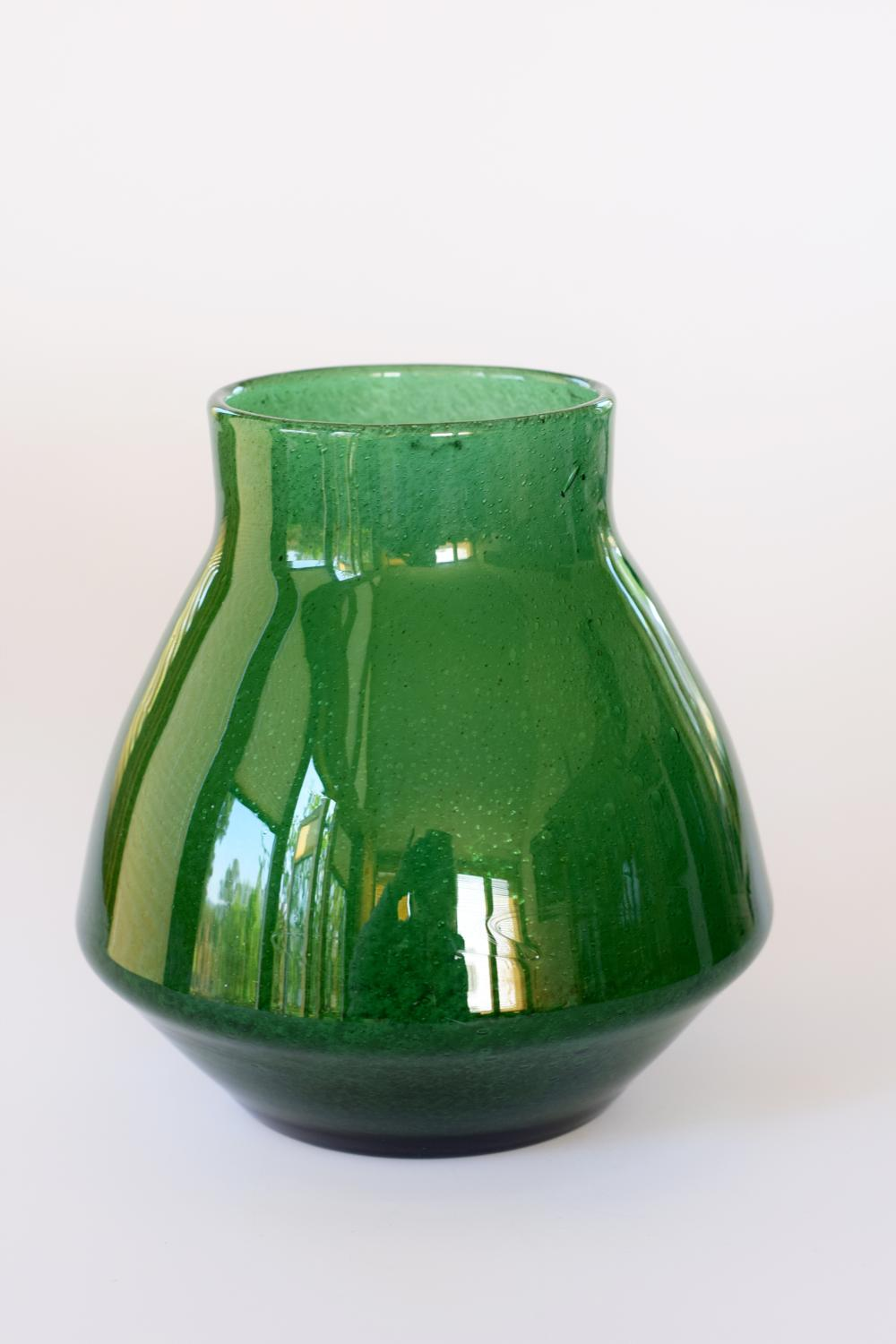 Dark green cloudy vase