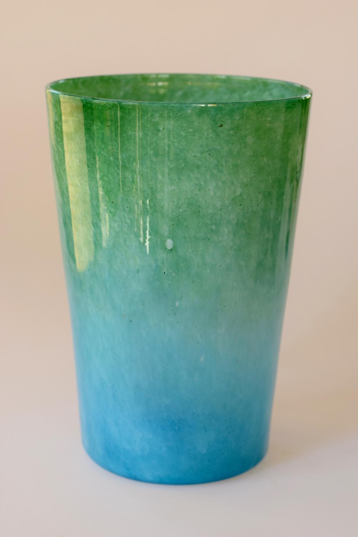 Cloudy green/blue tumbler vase, Whitefriars.