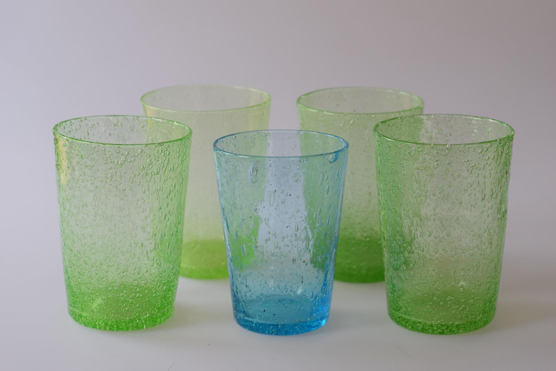 Set of 3 Pompeian tumbler glasses