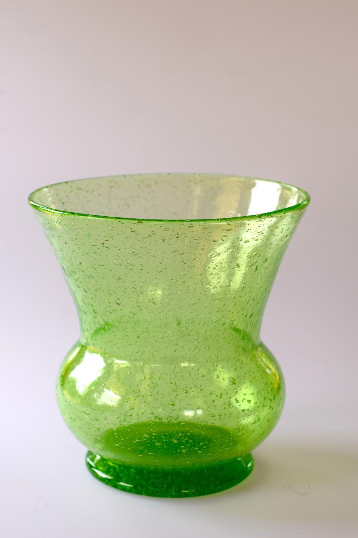 Pompeian green bubble thistle vase